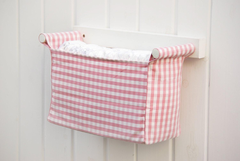 Pink nursery storage item for baby girls diaper caddy by for Nursery hanging storage