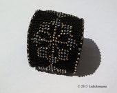 Cuff bracelet with bead design on crochet cotton thread, womens accessories, costume jewelry, goth bracelet, punk jewelry
