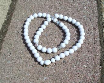 Vintage White Glass & Aurora Borealis Bead Necklace