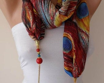 Accessories - Jewelry Shawl - Fabric with Golden Sequins - Beads and Chain - Peacock Accessory