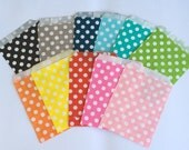 Polka Dot Party Favor Bags 5x7 Paper Treat Bags Candy Buffet Favor Wedding baby shower Favor  Goodie Bags Popcorn bags Bakery Bags 20 count
