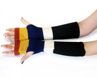 Striped Multicolor  arm warmers, fingerless gloves, mittens, Hand Warmers , Cuffs , wool, knitted, cotton, urban clothing