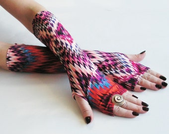 Merry Dancers - Very Soft Rayon Fingerless Gloves ,  Arm Warmers , Gloves , Hand Warmers , Victoriian , Goth , Cotton