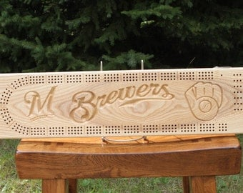 Milwaukee Brewers Cribbage Board Made From White Ash