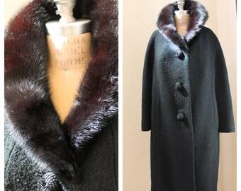SALE Exquisite Pin-Up Coat Women's Winter Black Boucle Swing Coat, Mahogany Mink Collar, Manor Bourne I Magnin