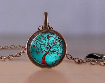 Jewelry - Lucky Penny Necklace Art - Tree of Life 5 - Choose Chain Length - 1 Cent Jewelry - Charm - Pendant - Penny Jewelry