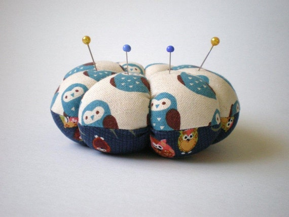 Pincushion OWL FABRIC. Great for a sewing gift - Round cushion for pins. Double sided owls. Quilters gift. what a hoot.