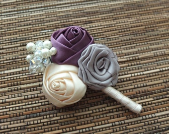 Vintage Boutonniere, Vintage Ribbon Rose Boutonniere, Ivory, Plum/Purple and Gray Boutonniere
