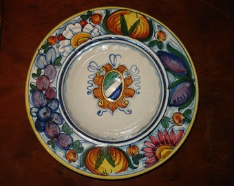 Italian Hand-Painted Ceramic Deruta Style Bowl with Coat of Arms Wall Hanging, Blue Sheild