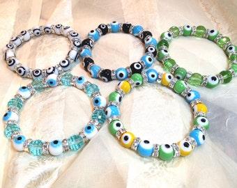 Crystal Evil Eye Bracelets Guaranteed to Gaze Unblinkingly!