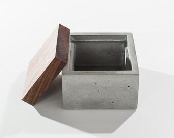 Small Grey Concrete Box with solid Dark American Walnut wood lid / Minimalist Home Decor/Jewelry Box
