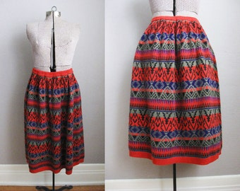 Aztec Print Knit Wool Skirt 80s Vintage Red Skirt Geometric Black Blue / Medium