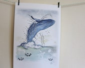 Whale Mixed Media ~ BrazilArte Animal Series / A4 Art Print