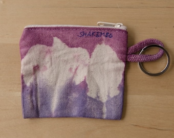 Small pouch, hand dyed, purple, blue, for keys, coins and other small things