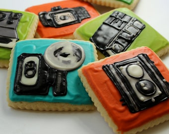 Vintage Camera Sugar Cookies with Buttercream Frosting