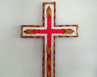 vintage matchstick cross / handmade - glitter - Christian - folk art - crucifix - religious - church - tramp art - wall hanging - home decor