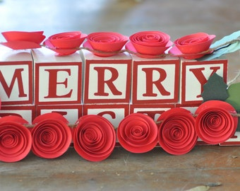 Christmas Garland Paper Flower Garland Red