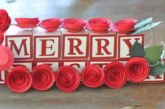 Christmas Garland Paper Flower Garland Red