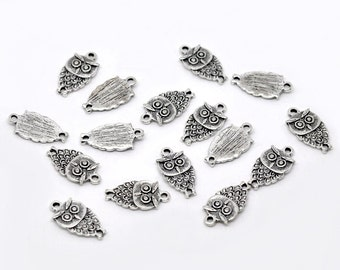 10 Pieces Antique Silver Small Owl Charms
