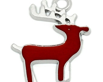 2 Pieces Red Silver Tone Enamel Christmas Reindeer Charms