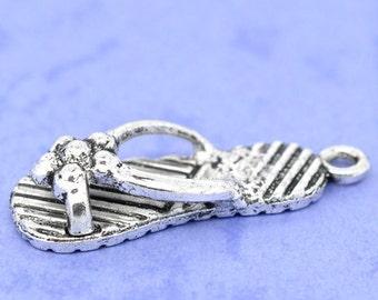 5 Pieces Antique Silver Flip Flop Charms
