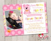 Puppy Girl Birthday Invitation, Printable DIY Puppy Girl Invite, Pink, Yellow and Orange Puppy Party