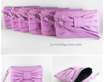 SUPER SALE - Set of 9 Bridesmaids Clutches, Wedding Clutches / Lavender Purple Bow Clutches - Made To Order