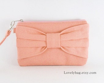 SUPER SALE - Bridesmaid Gift,  Peach Bow Clutch - Made To Order