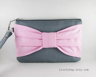 SUPER SALE - Gray with Light Pink Bow Clutch - iPhone 5 Wallet, iPhone Wristlet, Cell Phone Wristlet, Camera Bag, Cosmetic Bag, Zipper Pouch