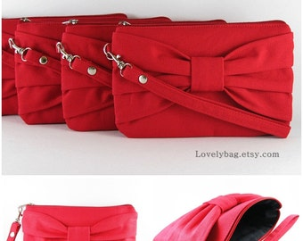 SUPER SALE - Set of 2 Red Bow Clutches - Bridal Clutches, Bridesmaid Clutch, Bridesmaid Wristlet, Wedding Gift - Made To Order