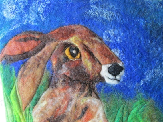 hare and moon picture, fiber art, wet felted art, 9 x 12 inches
