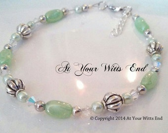 Green Anklet, jade and silver anklet, anklets, green jewelry, womens anklets, summer jewelry,