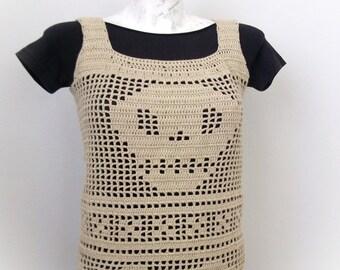 Beige Crochet Halter Top -Crochet Skull  tank top- Summer-Crochet Hippie Fringe Halter Top