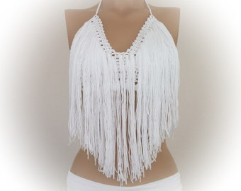 White Crochet Hippie Fringe Halter Top-Crochet tank top - Bandeau Top-ringes Sandy Top Halter Tank Backless Music Top Retro Corset