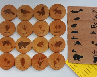 Wood animal and tracks woodland nature matching game toy