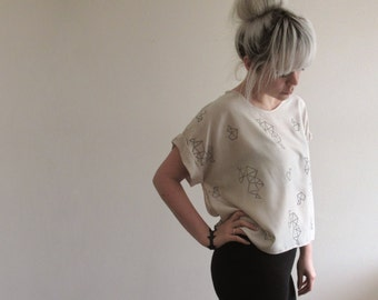 Hand Printed Boxy Top - Cream/Grey, Free Size