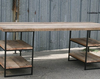 Reclaimed Wood Desk with shelves. Steel. Custom dimensions/configurations available. Vintage Industrial. Urban. Modern. Rustic. Table.