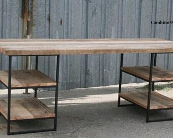 Reclaimed Wood Desk With Shelves. Steel. Vintage Industrial Desk. Rustic.  Table.