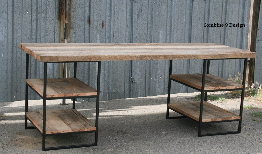 Reclaimed Wood Desk With Shelves Steel Custom