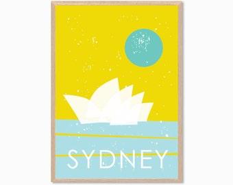 AUSTRALIA | Sydney Opera House Poster : Modern Illustration Retro Art Wall Decor Print
