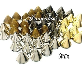 50PCS 6mm Gold Studs, gold tone Studs Single Row Spikes -  Spikes Beads Charms Sewing Pendants
