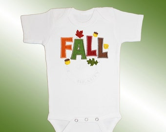Baby Shirt Bodysuit - Embroidered Applique - FALL - Short or Long Sleeved