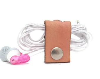 Tan Leather Earbud Organizer, Phone Cord Organizer