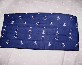 Cummerbund - Wedding - prom- formal-Cummerbund -Cummerbunds -with a choice of matching bow tie blue or grey Anchors, Sarah Jane, Out to Sea