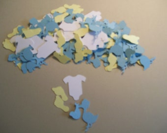 Baby boy Shower Confetti 150 pieces -   Baby Shower Party Decorations -  Baby Boy Table Confetti