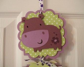 Baby Girl Hippo Hospital Banner -  Girl Baby Shower Banner - 3 cards