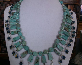 Turquoise  with blue dangles