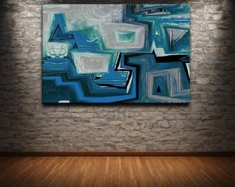 "48"" x 32"" Abstract canvas wall art giclee print  Large  Cubic fully stretched and ready to hang"