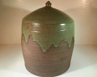 Special Price - READY TO SHIP - Pottery Cremation Urn -Wheel Thrown Clay -Keepsake Cremains Jar For Family Member or Pet Ashes -Up to 100lbs