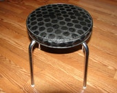 Vintage Pearl Wick Stool, Pearl-Wick Black & Gray Footstool with Original Tags, Vinyl and Chrome, Naugahyde Textured Dot Stool